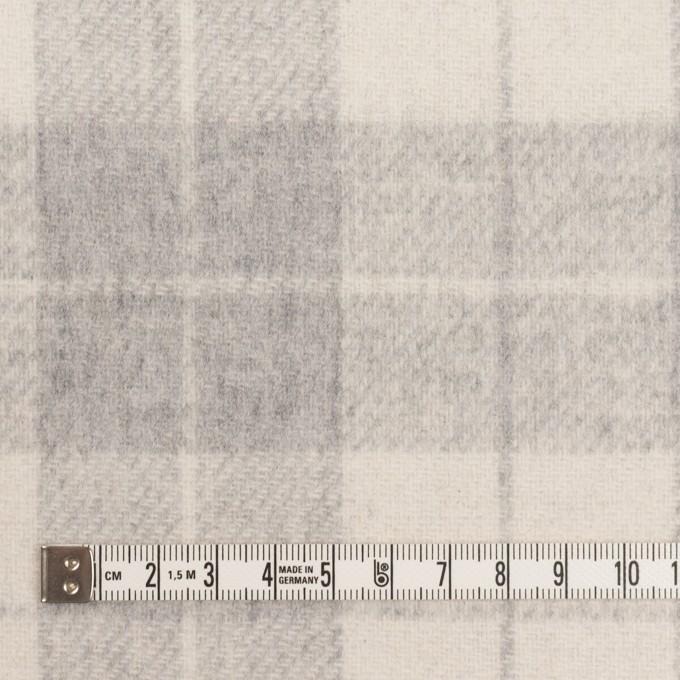 ウール&アクリル混×チェック&無地(グレー、エクリュ&モーブ)×Wフェイス・カルゼ イメージ4