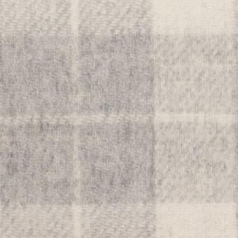 ウール&アクリル混×チェック&無地(グレー、エクリュ&モーブ)×Wフェイス・カルゼ サムネイル1