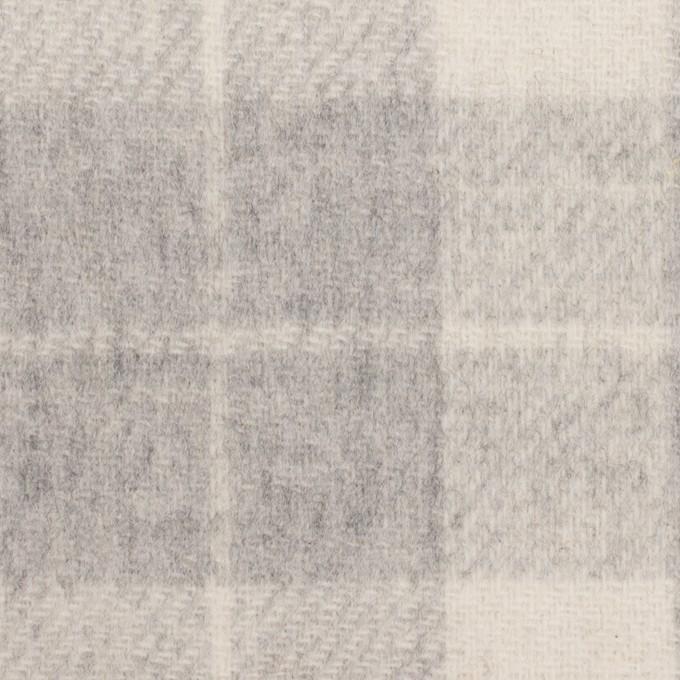 ウール&アクリル混×チェック&無地(グレー、エクリュ&モーブ)×Wフェイス・カルゼ イメージ1