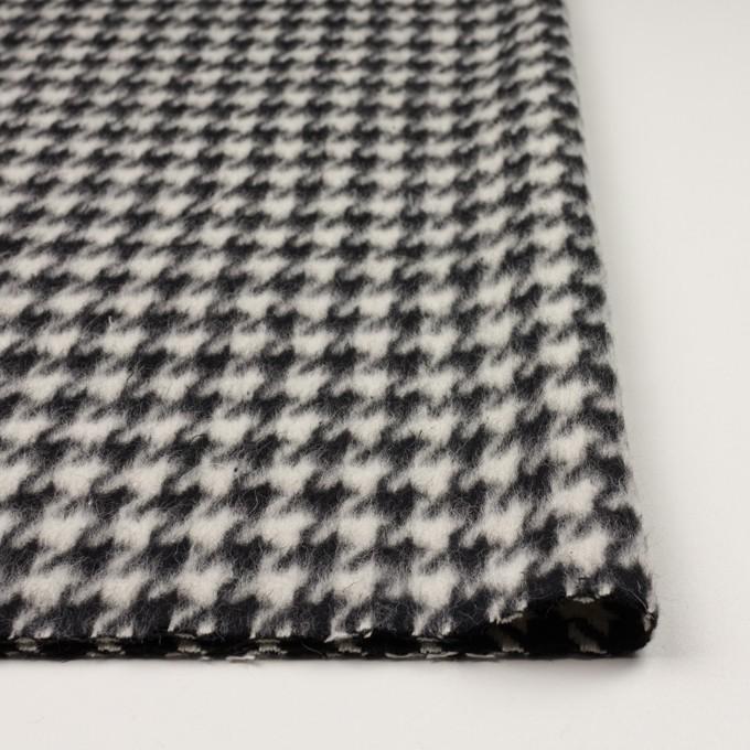 ウール&ポリエステル×千鳥格子(アイボリー&ブラック)×シャギー イメージ3