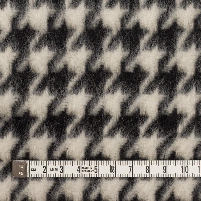 ウール&ポリエステル×千鳥格子(アイボリー&ブラック)×シャギー イメージ4