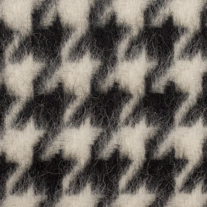 ウール&ポリエステル×千鳥格子(アイボリー&ブラック)×シャギー イメージ1