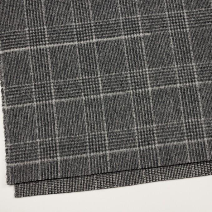 ウール×チェック(チャコールグレー)×二重織 イメージ2