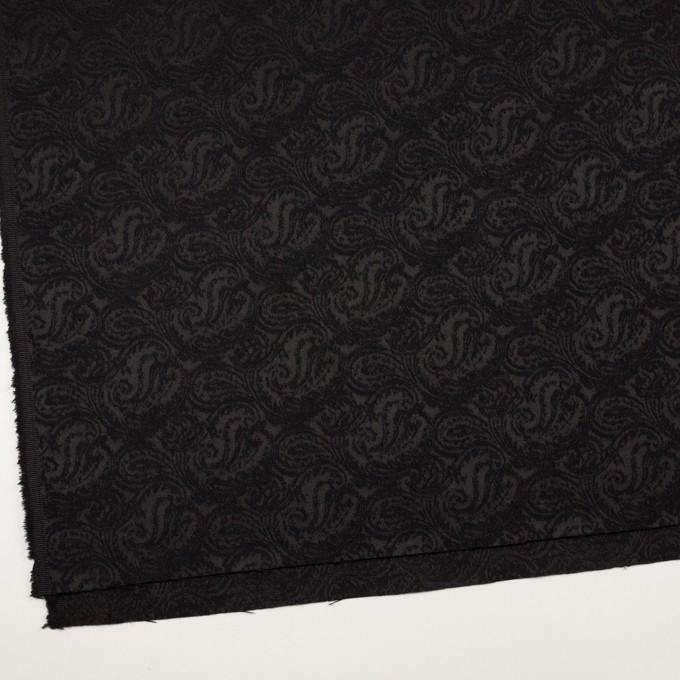 ポリエステル&ウール×ペイズリー(ブラック)×ジャガード イメージ2