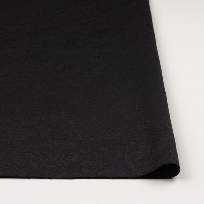 ポリエステル&ウール×ペイズリー(ブラック)×ジャガード イメージ3