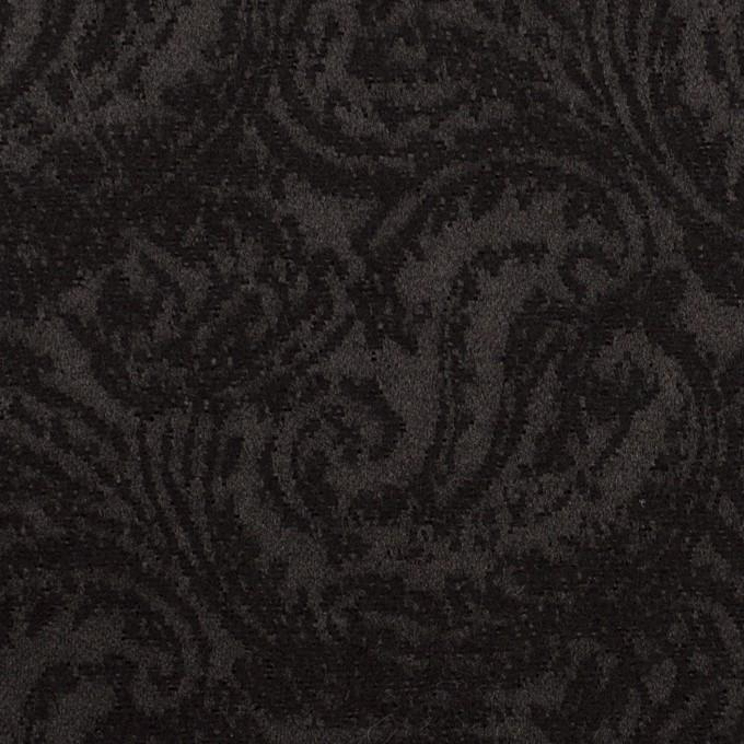ポリエステル&ウール×ペイズリー(ブラック)×ジャガード イメージ1