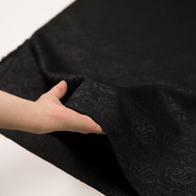 ポリエステル&ウール×ペイズリー(ブラック)×ジャガード イメージ5