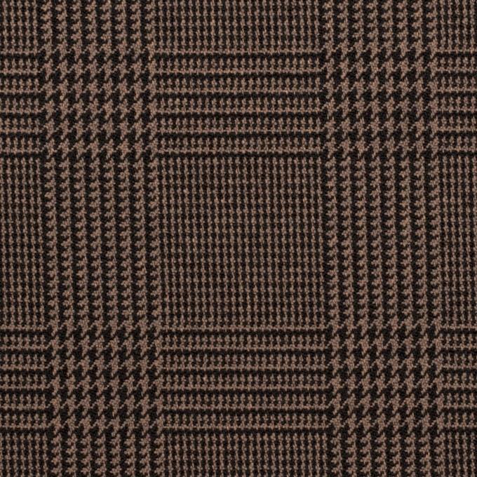 ポリエステル&レーヨン混×チェック(モカブラウン)×サージストレッチ イメージ1