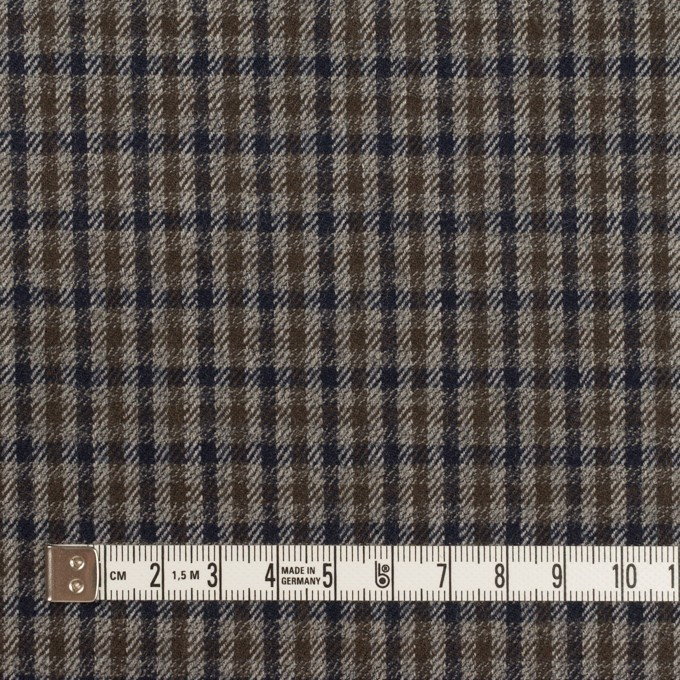 ウール&ポリウレタン×チェック(グレー、ネイビー&オリーブ)×サージストレッチ イメージ4