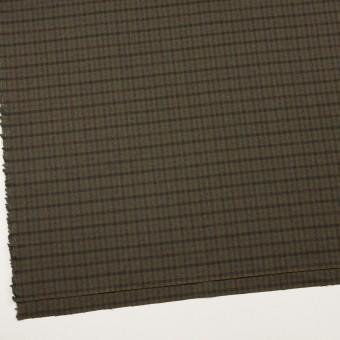 ウール&ポリウレタン×チェック(カーキグリーン、ブラウン&モス)×サージストレッチ サムネイル2