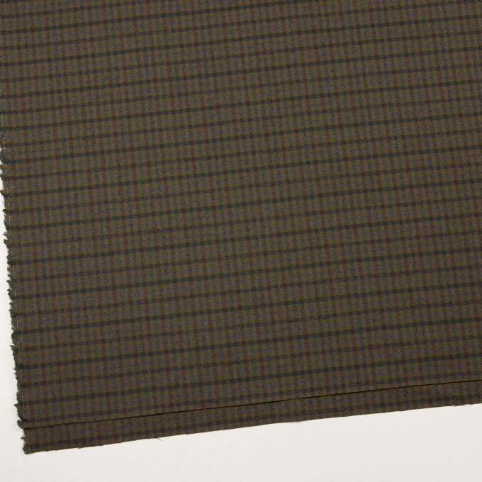 ウール&ポリウレタン×チェック(カーキグリーン、ブラウン&モス)×サージストレッチ イメージ2