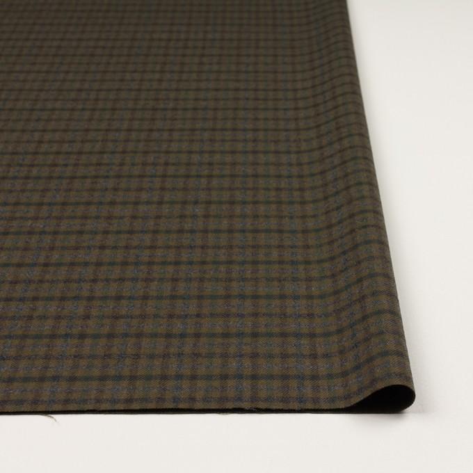 ウール&ポリウレタン×チェック(カーキグリーン、ブラウン&モス)×サージストレッチ イメージ3