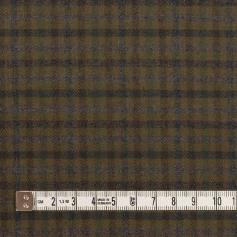 ウール&ポリウレタン×チェック(カーキグリーン、ブラウン&モス)×サージストレッチ サムネイル4