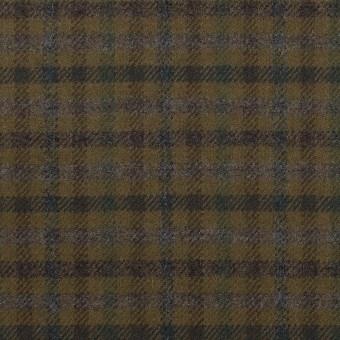 ウール&ポリウレタン×チェック(カーキグリーン、ブラウン&モス)×サージストレッチ