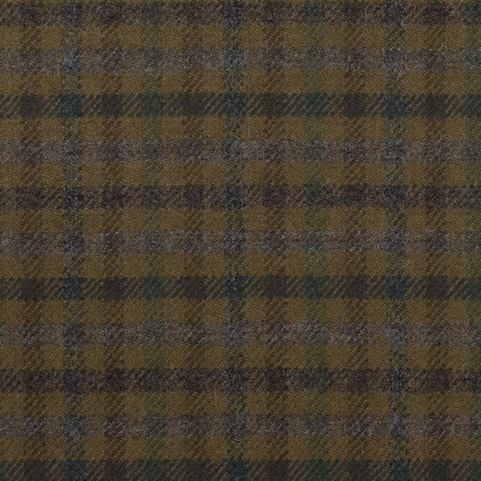 ウール&ポリウレタン×チェック(カーキグリーン、ブラウン&モス)×サージストレッチ イメージ1