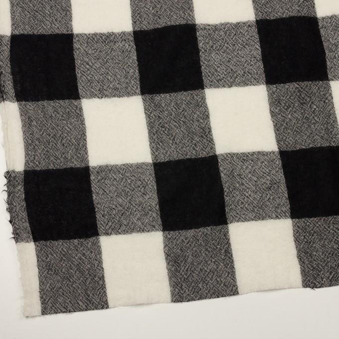 ウール×チェック(アイボリー&ブラック)×ガーゼ_全3色 イメージ2