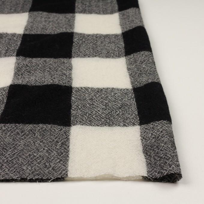 ウール×チェック(アイボリー&ブラック)×ガーゼ_全3色 イメージ3