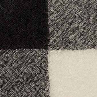 ウール×チェック(アイボリー&ブラック)×ガーゼ_全3色