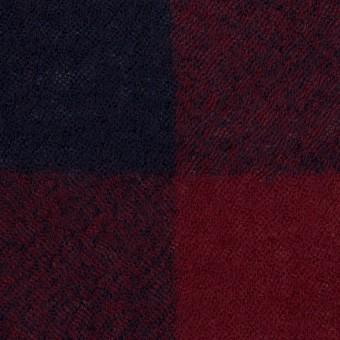 ウール×チェック(バーガンディー&ネイビー)×ガーゼ_全3色