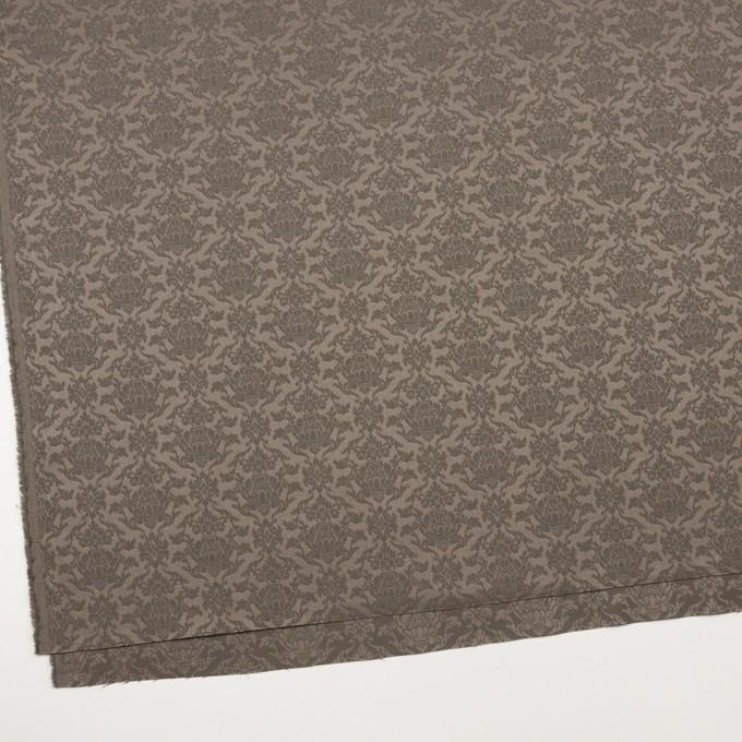 ポリエステル&コットン混×幾何学模様(アッシュカーキ)×サテンジャガード・ストレッチ イメージ2
