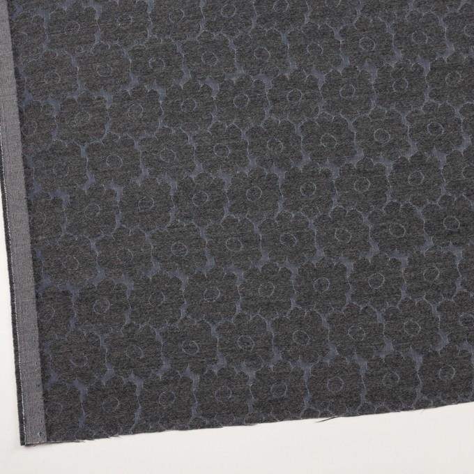 ウール&ポリエステル×フラワー(チャコールグレー&ブルーグレー)×二重織ジャガード イメージ2