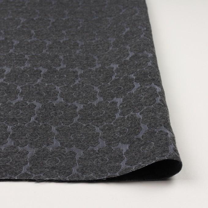 ウール&ポリエステル×フラワー(チャコールグレー&ブルーグレー)×二重織ジャガード イメージ3
