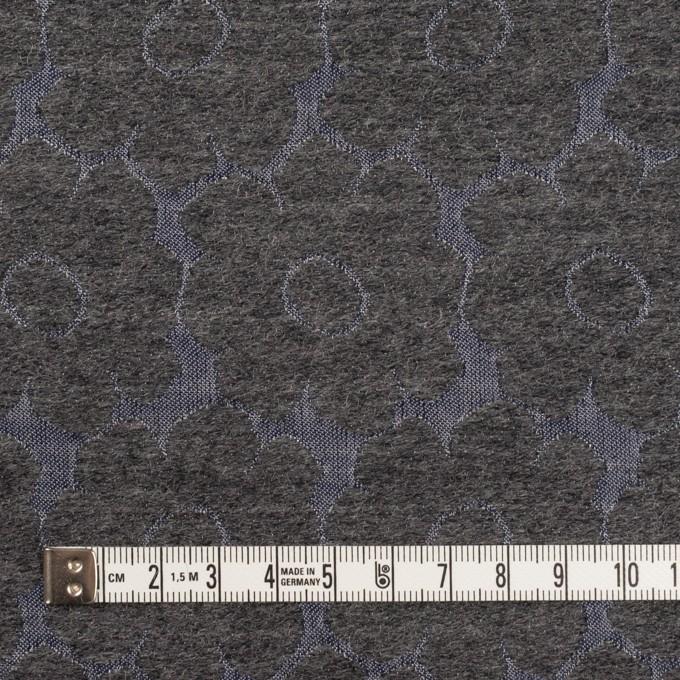 ウール&ポリエステル×フラワー(チャコールグレー&ブルーグレー)×二重織ジャガード イメージ4