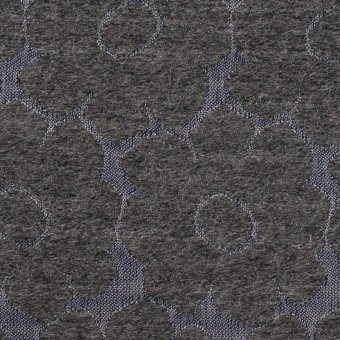 ウール&ポリエステル×フラワー(チャコールグレー&ブルーグレー)×二重織ジャガード