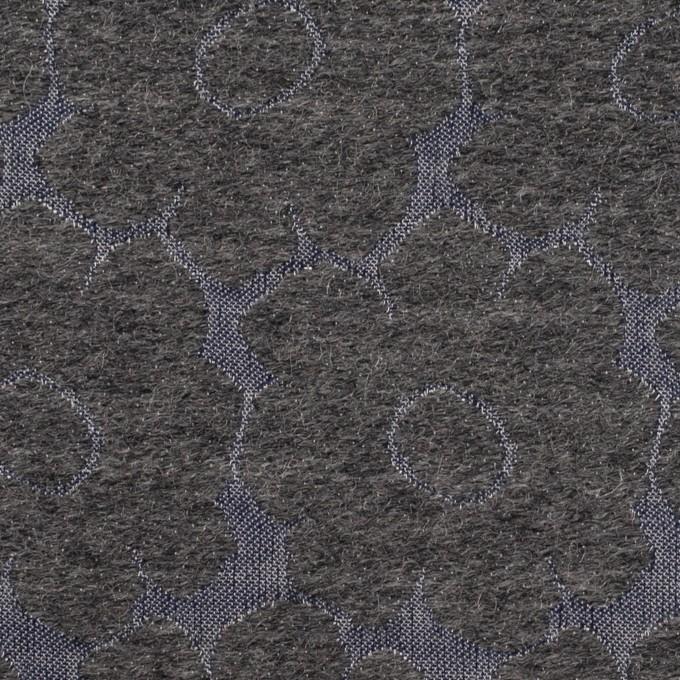 ウール&ポリエステル×フラワー(チャコールグレー&ブルーグレー)×二重織ジャガード イメージ1