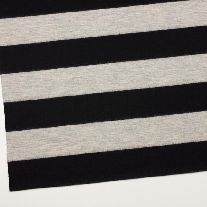 ウール×ボーダー(オイスターグレー&ブラック)×天竺ニット イメージ2
