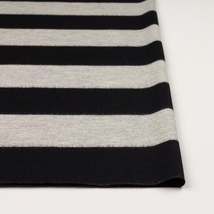 ウール×ボーダー(オイスターグレー&ブラック)×天竺ニット イメージ3