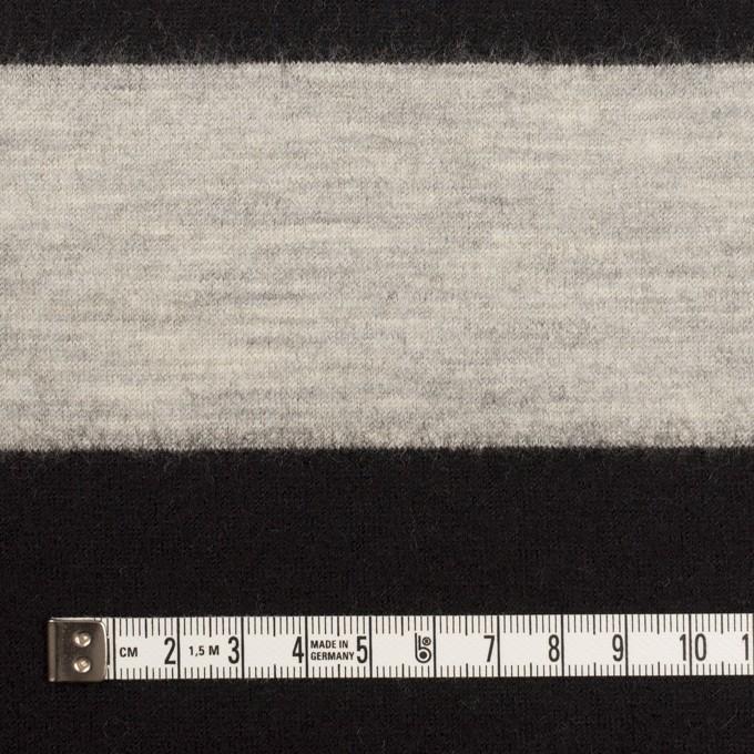ウール×ボーダー(オイスターグレー&ブラック)×天竺ニット イメージ4