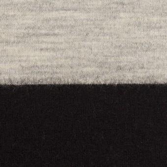 ウール×ボーダー(オイスターグレー&ブラック)×天竺ニット