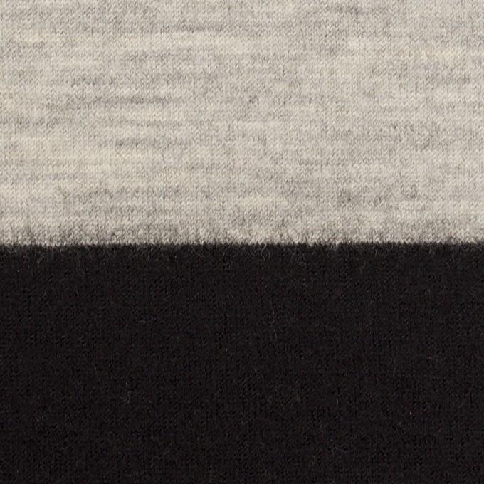 ウール×ボーダー(オイスターグレー&ブラック)×天竺ニット イメージ1
