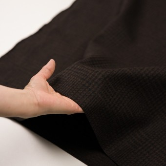 ウール×チェック(ブラウン&ブラック)×圧縮ニット サムネイル5