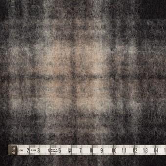 ウール&ポリエステル×チェック(アッシュブラウン&チャコール)×フリースニット サムネイル4