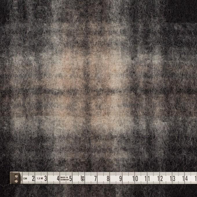 ウール&ポリエステル×チェック(アッシュブラウン&チャコール)×フリースニット イメージ4