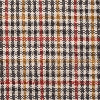 ウール&コットン混×チェック(エクリュ、レンガ&マスタード)×キャンバス_全2色 サムネイル1