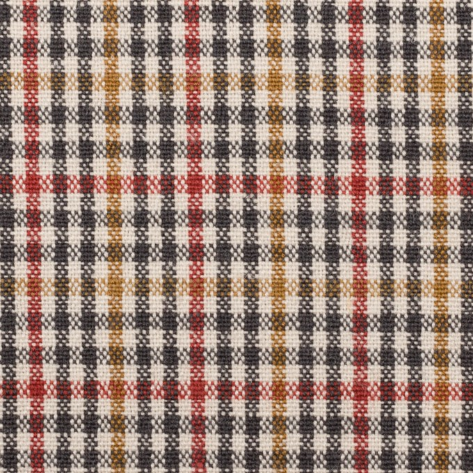 ウール&コットン混×チェック(エクリュ、レンガ&マスタード)×キャンバス_全2色 イメージ1