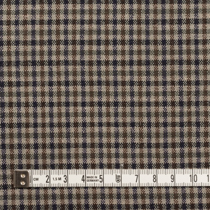 ウール&コットン混×チェック(ブルー、ネイビー&ブラウン)×キャンバス_全2色 イメージ4