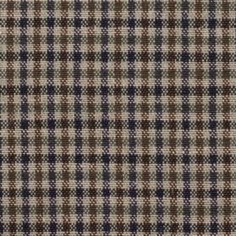 ウール&コットン混×チェック(ブルー、ネイビー&ブラウン)×キャンバス_全2色