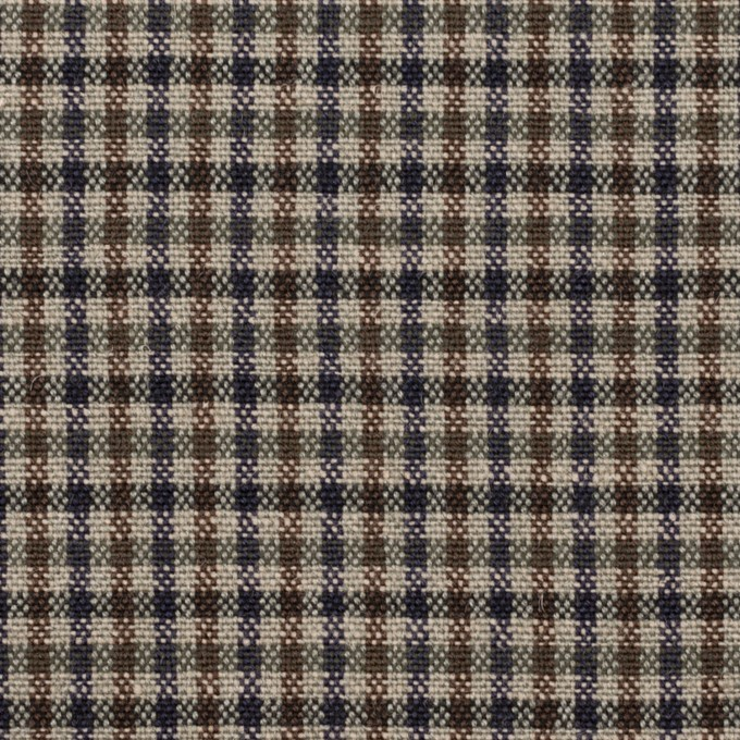 ウール&コットン混×チェック(ブルー、ネイビー&ブラウン)×キャンバス_全2色 イメージ1