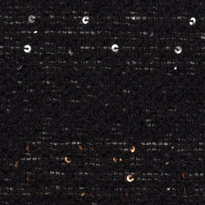 ウール×ミックス(ブラック、シルバー&ゴールド)×ファンシーツイード イメージ1