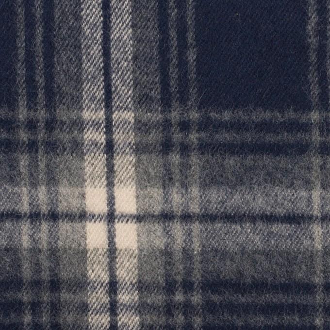 コットン×チェック(ネイビー)×フランネル イメージ1