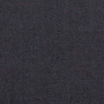 コットン&ポリウレタン×無地(アッシュネイビー)×ヘリンボーン_イタリア製