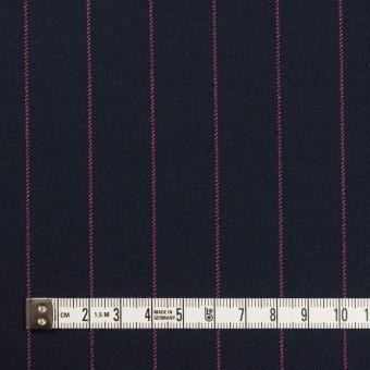 ポリエステル&レーヨン混×ストライプ(ダークネイビー&ピンク)×サージストレッチ サムネイル4