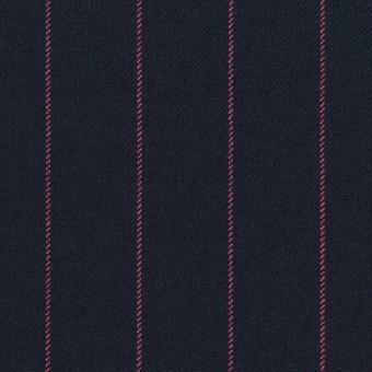 ポリエステル&レーヨン混×ストライプ(ダークネイビー&ピンク)×サージストレッチ