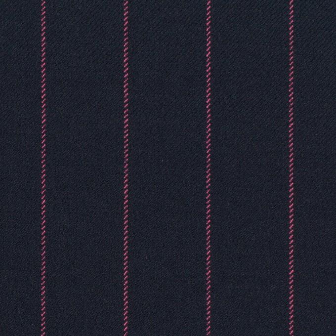 ポリエステル&レーヨン混×ストライプ(ダークネイビー&ピンク)×サージストレッチ イメージ1