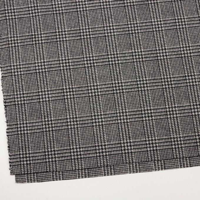 ウール&アクリル混×チェック(アイボリー&ブラック)×ツイード イメージ2