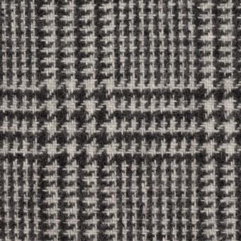 ウール&アクリル混×チェック(アイボリー&ブラック)×ツイード サムネイル1